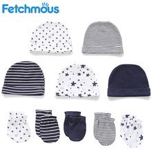 Baby Boy Girl Hat + Gloves Set Winter Warm Cotton Beanies Stuff Toddler Infantil Accessories Newborn Photography Props Fetchmous cheap CN(Origin) 0-6m Fitted Unisex striped 0-3 months 4-6 months 7-9 months 10-12 months baby hat + gloves set