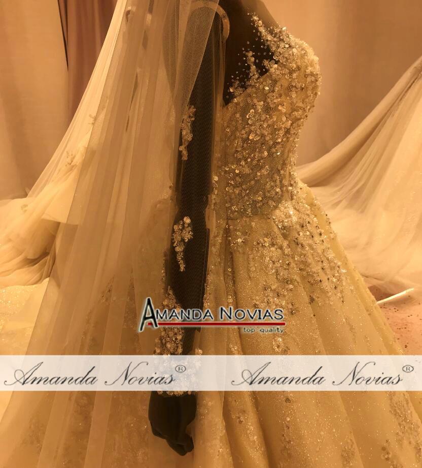 Image 3 - فستان عروس فاخر 2020 مطرز بالكامل فستان زفاف عمل حقيقي ماركة أماندا نوفيافساتين الزفاف   -