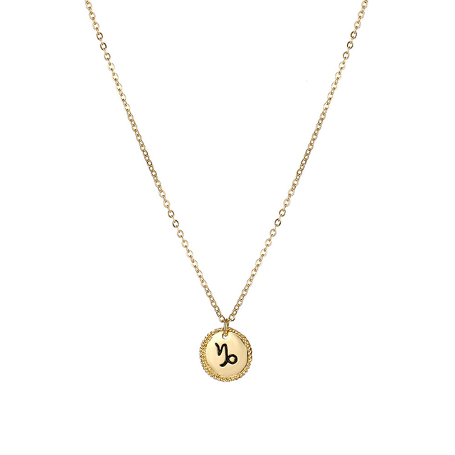 New 12 Constellation Necklace Fashion Zodiac Sign Coin Statement Pendant Necklace Women Jewelry Twelve Horoscope Clavicle Chain