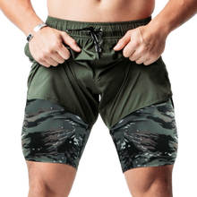 2021 Male Sweatpants Male shorts Double layer Jogger Shorts Men 2 in 1 Short Pants Gyms Fitness Bermuda Quick Dry Beach Shorts