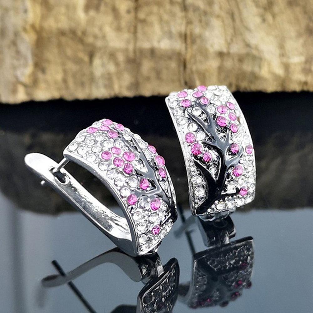 1 Pair Shiny Crystal Rhinestone Stud Earrings Women Fine Ear Jewelry Gifts Fashion Elegant Flower Pattern Ear Stud Earrings