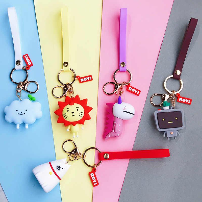 2019 Novos Dos Desenhos Animados Nuvens Brancas Leão Dinossauro Anel Chave TV Pop Moda Brinquedos Crianças Keychain Chaveiro Saco Dos Homens Das Mulheres pingente Jewelr