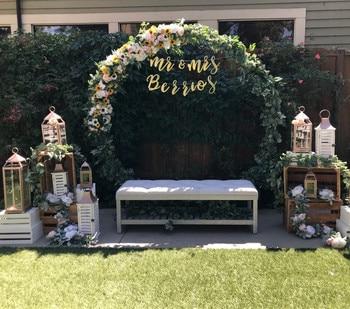 EMS accesorios de boda fiesta de cumpleaños de Navidad decoración de hierro forjado círculo redondo anillo arco telón de fondo arco césped artificial estante de flores