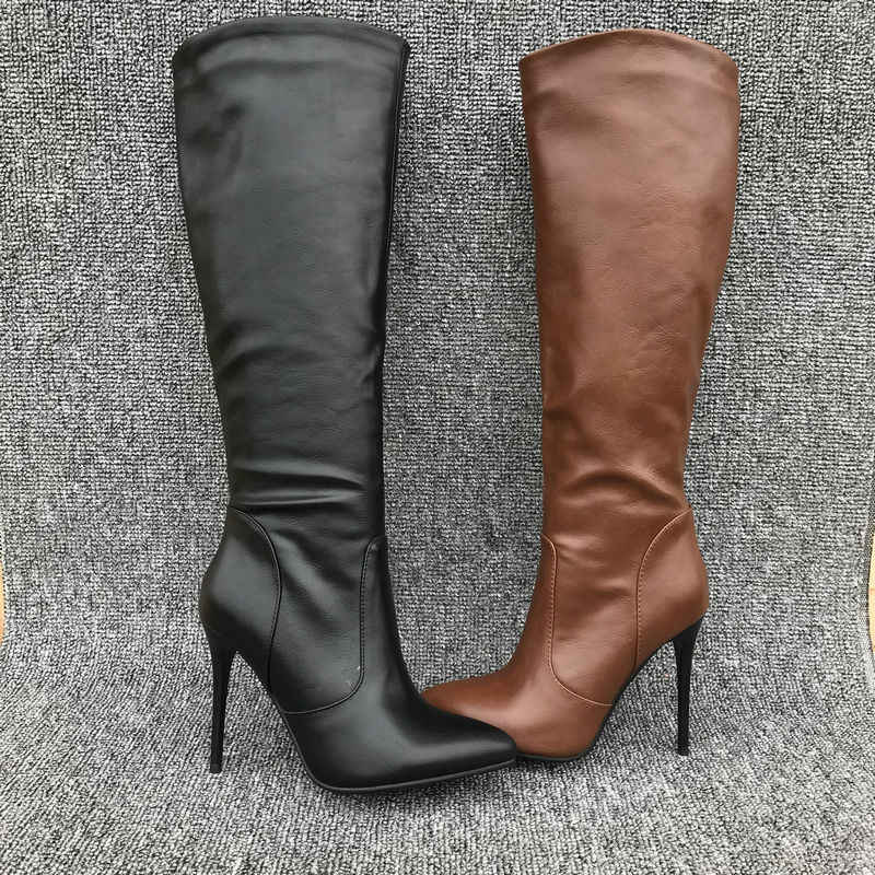 AIWEIYi kadınlar için kış çizmeler Stiletto topuk yüksek topuklu uyluk yüksek çizmeler siyah kahverengi diz yüksek çizmeler moda yüksek topuklu çizmeler