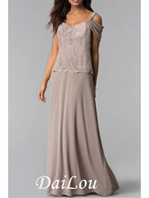 Sheath / Column Mother of the Bride Dress Sexy V Neck Floor Length Chiffon Lace Sleeveless with Criss Cross 2021