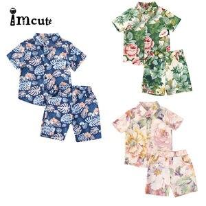 Милый модный комплект одежды из 2 предметов для маленьких мальчиков, футболка с короткими рукавами и принтом банановых листьев + шорты, комп...