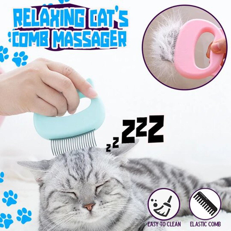 Relaxing Cat Comb Massager Pet Brush Dog Hair Removal Open Knot Massage Comb ALS88