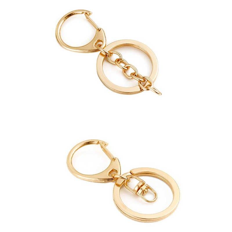5-20 ชิ้น/ล็อตKey ChainแหวนKeychain Bronzeโรเดียม 28 มม.ยาวแยกKeyringsพวงกุญแจเครื่องประดับทำขายส่งDIY