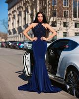 Classic Evening Dress 2020 Mermaid Halter Navy Blue Long Prom Gown Lace Appliques Beaded Elastic Satin Sweep Train Customize