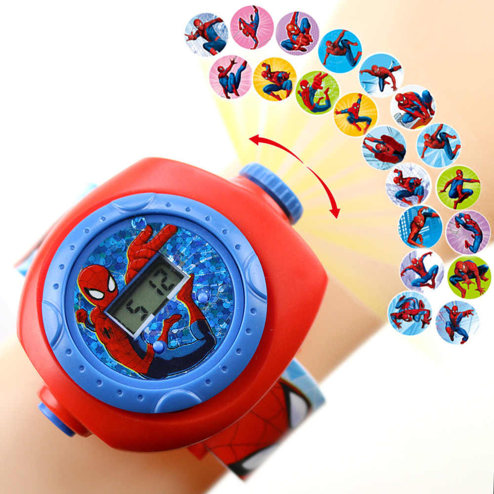 Nieuwe Spiderman Kids Horloges Prinses Projectie Cartoon Patroon Digitale Kind Horloge Voor Jongens Meisjes Led Display Klok Relogio