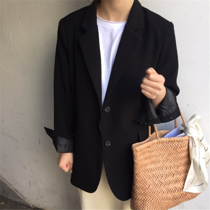 HziriP 2019 Gentle Black Brief Chic Fashion Autumn Loose OL All Match Casual Women Elegant Office Ladies Full-Sleeved Blazers