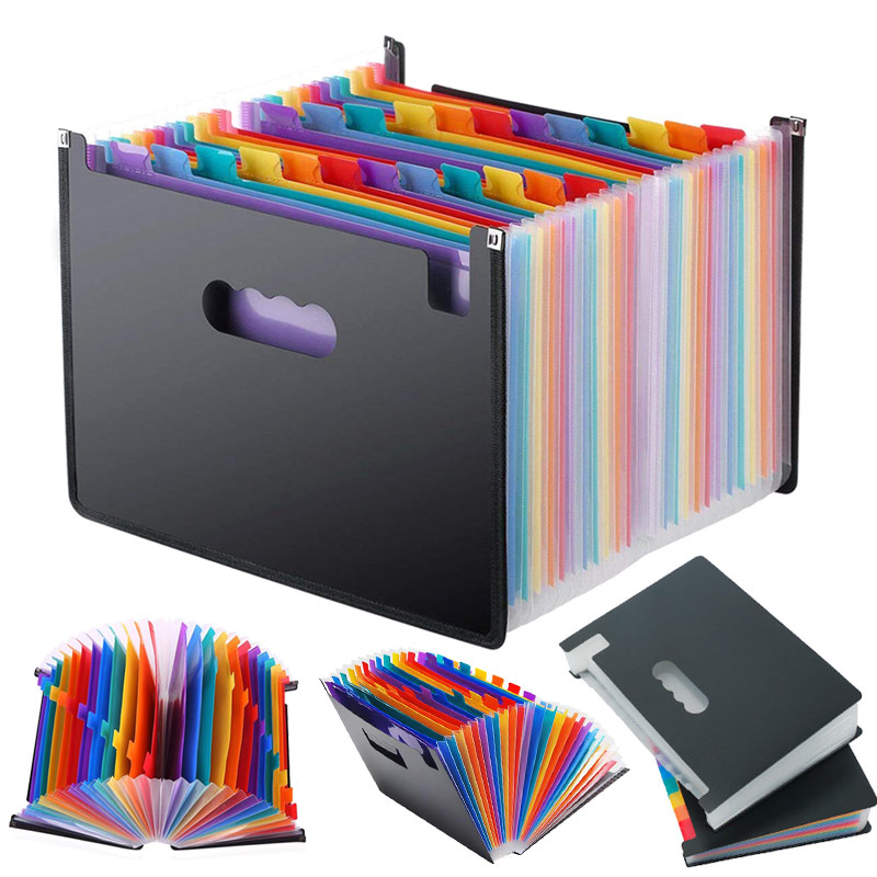 13/24 Pockets Expanding File Folder Works Accordion Office A4 Document Organizer DQ-Drop