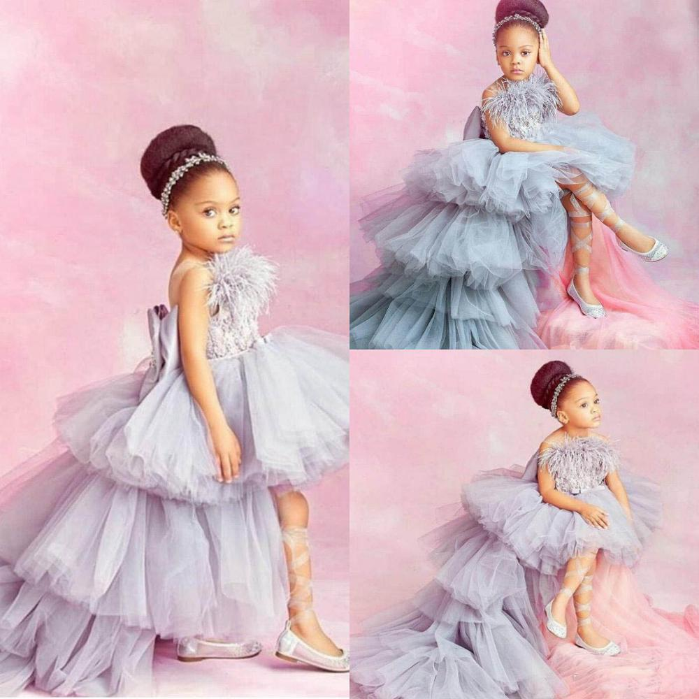 2020 High Low Flower Girl Dresses For Wedding Lace Appliqued Tiered Skirts Little Girls Pageant Dress Feather Communion Dresses
