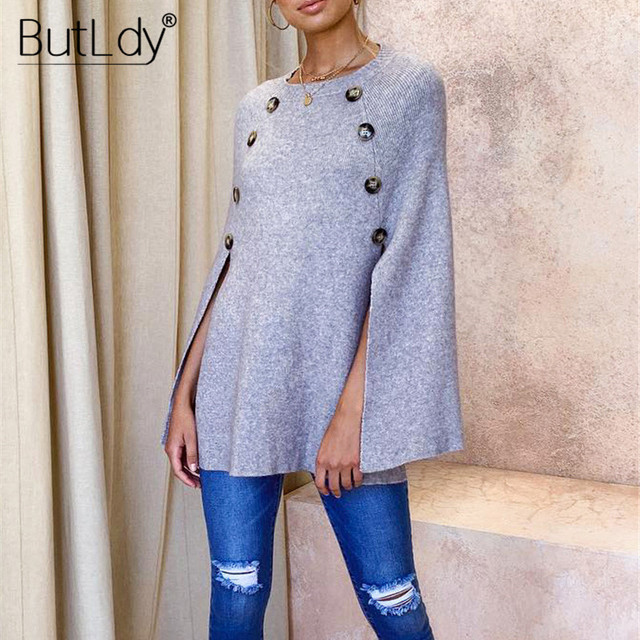 Button Irregular Cloak Sweater Women Knitting Pullover Autumn Winter Fashion 2019 Batwing Sleeve Sweater Knitwear Female Tops 2