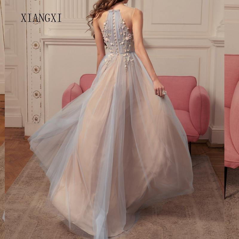 Vestidos Champagne Evening Dresses 2020 Tulle A-Line O-Neck Sleeveless Formal Party Dress Evening Gowns Robe De Soiree
