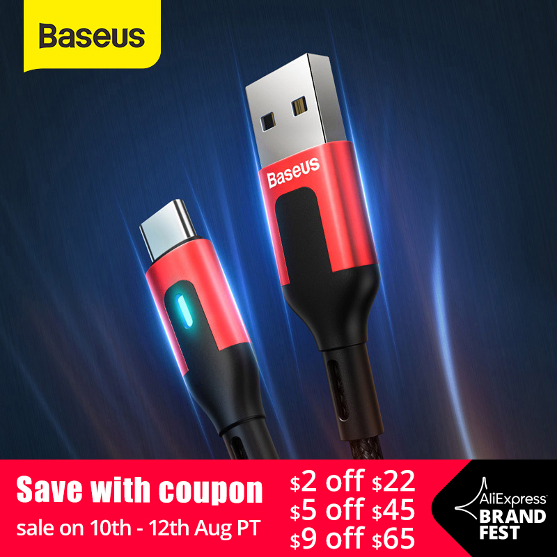 Baseus USB Type C Cable for Redmi Note 9 9s 8 Pro Quick Charge 3.0 Type C Cable LED for Xiaomi 10 Samsung S20 USB C Charger Cord(China)