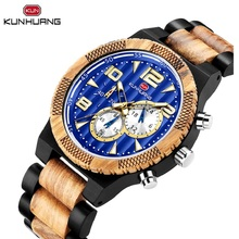 Stylish Wood Natural Mens Sport Quartz Watch Blue 3 Sub Dial Date Display Soft Zebra Ebony Wooden Band Strap Unisex Clock Reloj