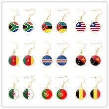 Pendientes colgantes de bandera nacional para mujer, de Sudáfrica, Marruecos, Guinea, Países Bajos, Bélgica y Portugal