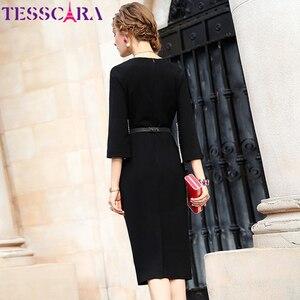 Image 5 - TESSCARA 女性エレガントなビーズドレスフェスタ女性オフィスパーティーローブ高品質セレブに触発デザイナー鉛筆 Vestidos