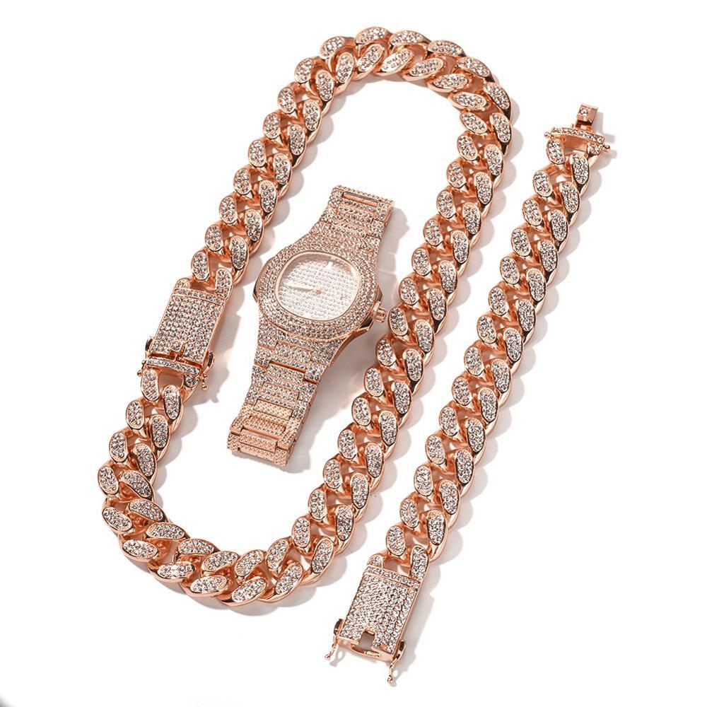 20mm grand large chaîne cubaine collier Bracelet et montre 3 pièces hommes Hip Hop bijoux ensemble or argent Rose - 2