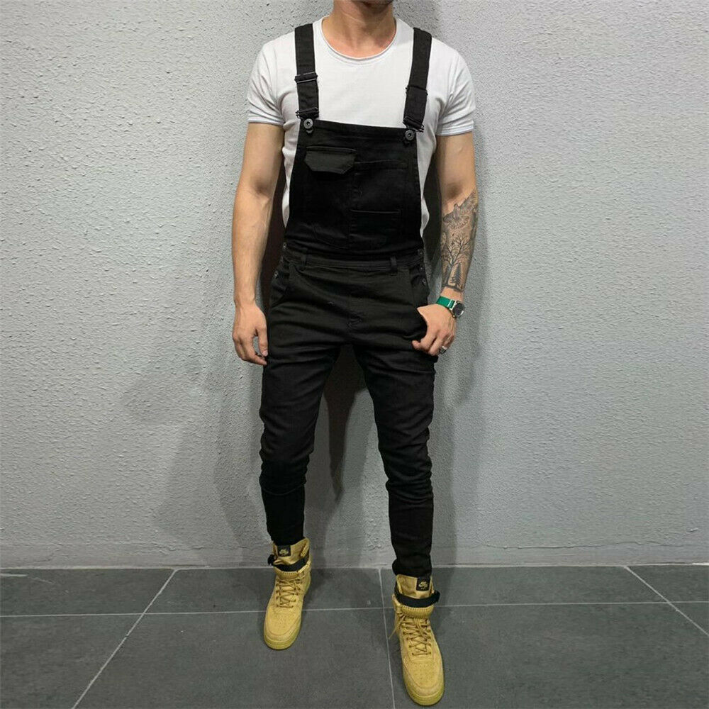 Men Denim Dungaree Bib Overalls Jumpsuits Male Casual Moto Biker Jeans New Fashion Long Pants Trousers Plus Size