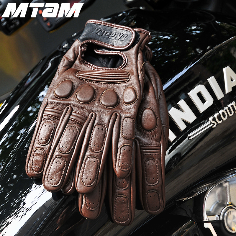 Genuine Motorcycle Retro Gloves Cowhide Leather Autumn Winter Warm Touch Screen Full Finger Black Motocross Gloves High Quality