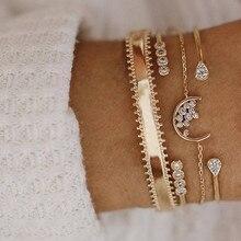 ZORCVENS 4 Pcs/set Gold Color Moon Crystal Bracelets for Women Boho Cuff Bracelet Bangle Jewelry Party Gifts