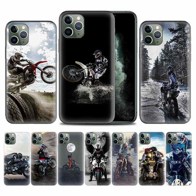 Moto Cross Moto sport di Caso per il iPhone di Apple 11 Pro XS Max XR X 7 8 6 6S Plus 5 5S SE 12 Mini Molle Del Telefono di TPU Della Copertura Coque
