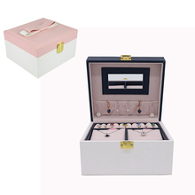 Fashion Lady PU Leather Jewelry Box Necklace Earring Bracelet Storage Case Ring Display Case Portable Jewelry Organizer