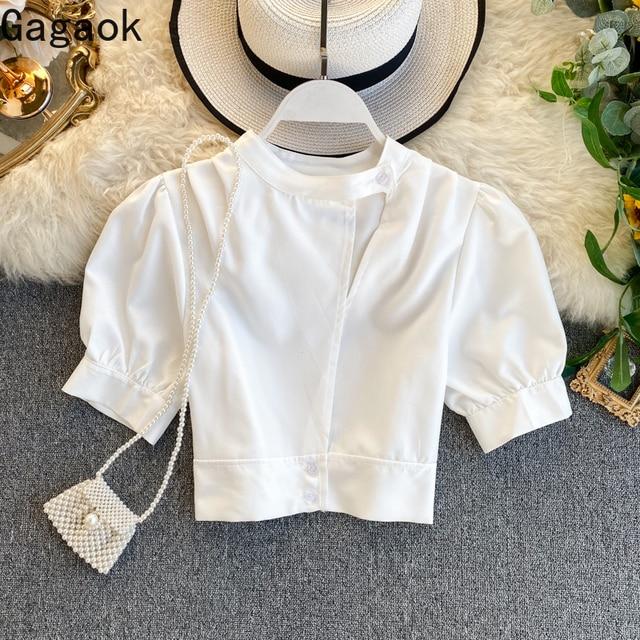 Gagaok 2020 Streetwear Women Blouse Spring Autumn New Solid O-Neck Puff Sleeve Short Slim Simple Chic Wild Female Fashion Shirts 1