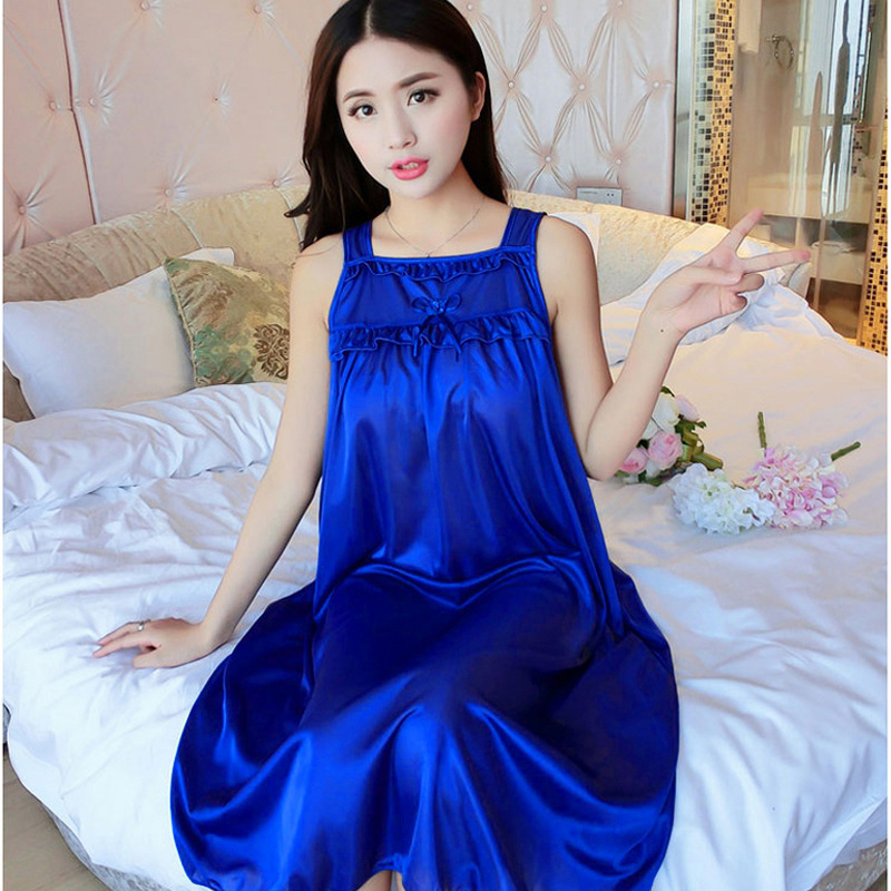 [Yongxing] Summer New Style Plus-sized Women Pajamas Sexy Viscose Strapped Dress 44 #6-Color One Size