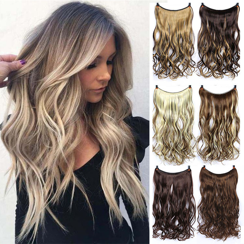 DIANQI 24'' Invisible Wire No Clips in Secret Fish Line Hairpieces Straight real natural Synthetic Hair Extensions