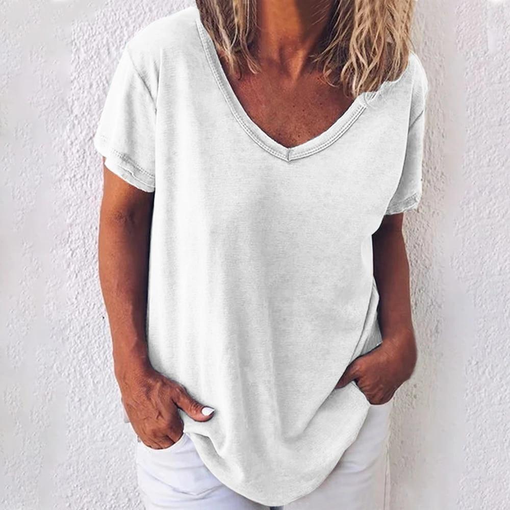 Women Casual Summer Solid Linen Short Sleeves Plus Size Top T-Shirt Blouse S-5XL