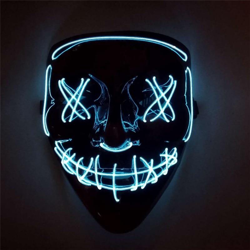 2019 Halloween LED Mask Light Up Party Masks Festival Masquerade Cosplay Mask Halloween Party Cosplay Neon Horror Mask