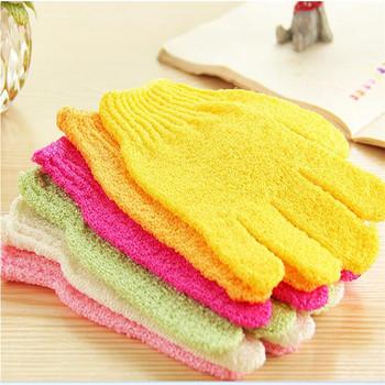 1 para pielęgnacja skóry złuszczający prysznic rękawice kąpielowe Spa masaż ciała czyszczący skruber usuwanie martwego naskórka pielęgnacja tanie i dobre opinie CN (pochodzenie) Gąbka GLOVE Czyszczenie Rękawica Bath Gloves Shower Ciało Nylon 24*14 5cm delivery randomly 1 x bath gloves
