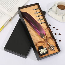New European Retro Feather Pen Set Dip Pen Gift Box Practical Birthday Gift For Men And Women Students Exquisite Stationery simple black gift box feather pen christmas gift personality birthday gift box student teacher europe and america stationery set