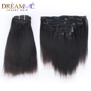 Brazilian Remy Yaki Straight Clip In Human Hair Extensions 120G 8Pcs/Set Natural Color Clip Ins Hair Extension Kinky Coarse Yaki