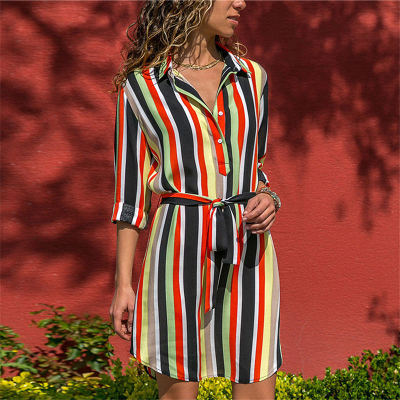 Langarm Shirt Kleid 2019 Sommer Chiffon Boho Strand Kleider Frauen Casual Striped Print A-line Mini Party Kleid Vestidos