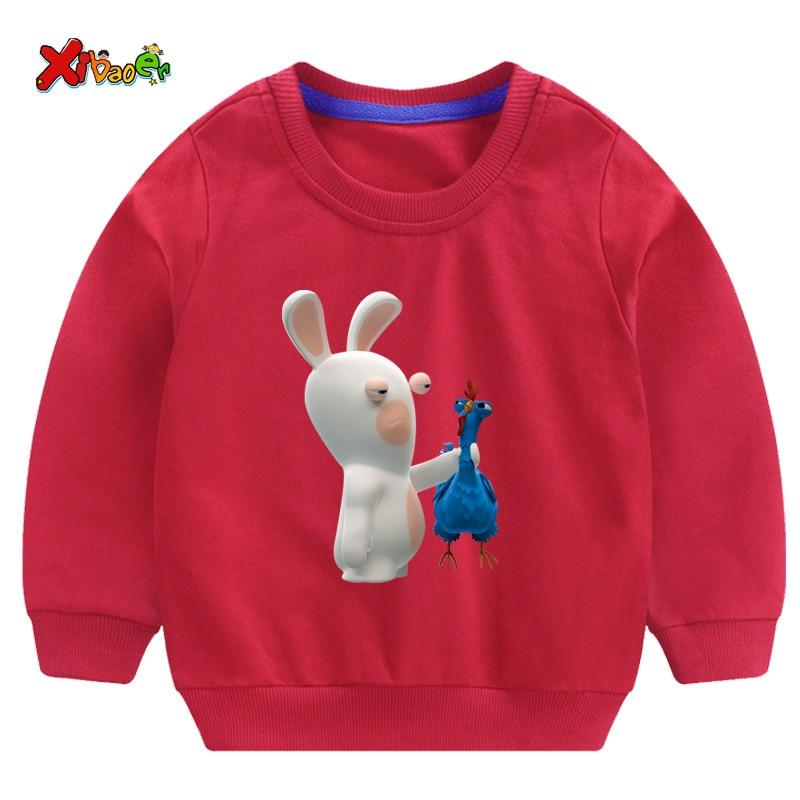 2019 Boys Girls Baby Print Hoodies Sweatshirts Crazy Rabbit Cartoon Sweatshirts Children O-Neck Long Sleeves Sweatshirts 2T-8T
