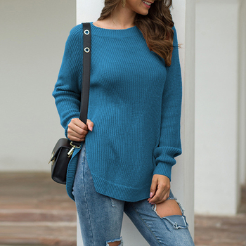 Hem Split Autumn Winter Knitted Women Sweaters Pullovers Long Sleeve Loose Sweater Women Jumper 2020 New Extend Female Pullover bow knitted pullovers autumn winter women sweater jumper pullover sleeve long 2020 high elasticity fall sweater women pullover