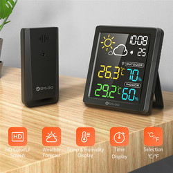 DIGOO DG-8647 LCD Digital Temperature Humidity Meter Home Indoor Outdoor Hygrometer Thermometer Weather Station with Clock