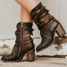Women Ankle Boots Leather Fashion Cross Tied Buckle Strap Female High Heels