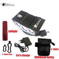 Solarstorm 3 * T6 LED vélo 4 Modes vélo avant lumière vélo lampe 7000 Lumen fietslamp USB 10000mAh batterie Pack + 9 LED tailligt