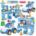 137 шт. город полицейский участок автомобиль для больших частиц модель строительные блоки фигуры кирпичные, обучающие игрушки для детей