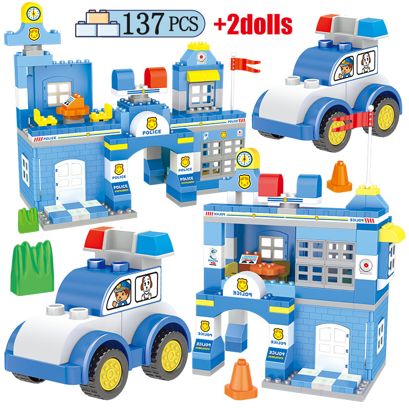 137 шт. город полицейский участок автомобиль для Duploed Большой частиц модель строительные блоки фигуры кирпичные, обучающие игрушки для детей