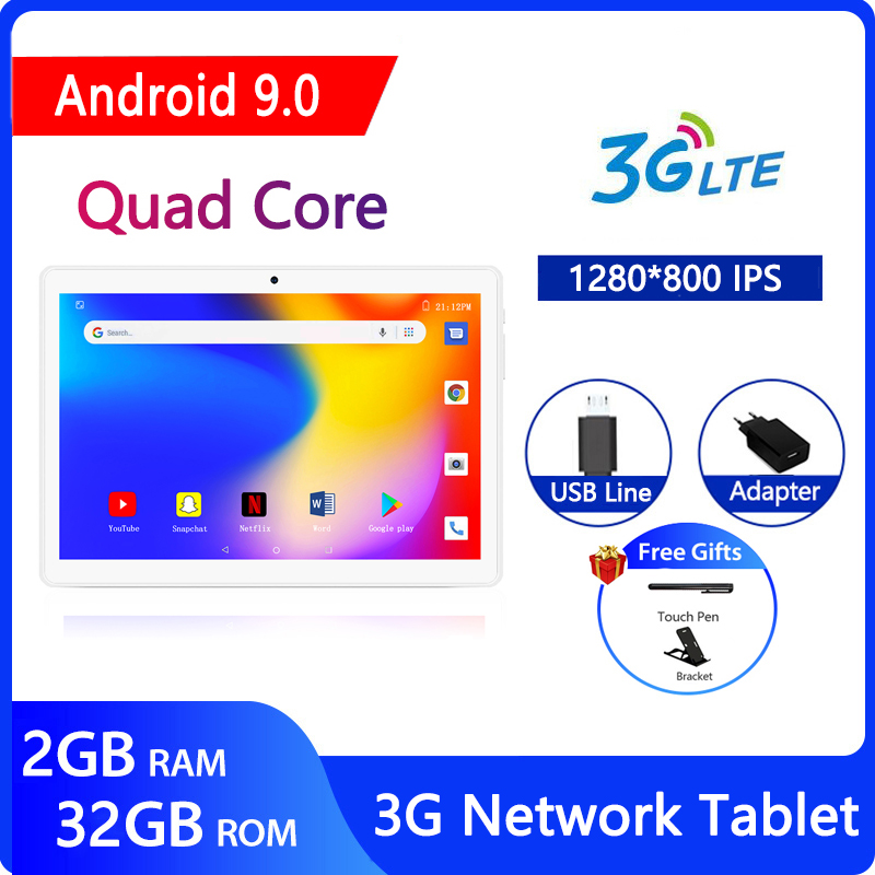 ZONKO Newest Tablets 10 Inch Android 9.0 Tablet PC 3G Phone Call Quad Core 1280*800 IPS 2GB RAM 32GB ROM 3G Network GPS Tablet