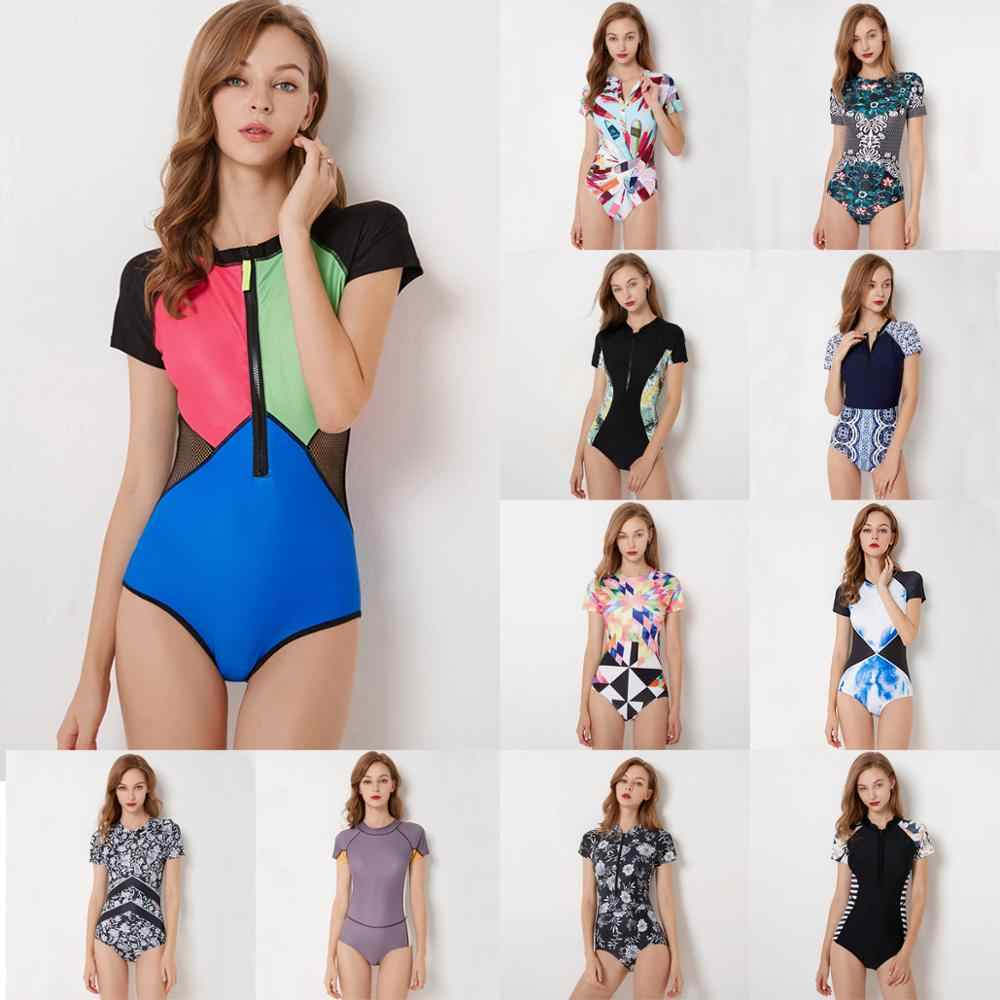 Diving One Piece Swimsuit Patchwork Short Sleeve Women Swimwear Bathing Suit Rash Guard Surfing Swimming Suit Rashguard