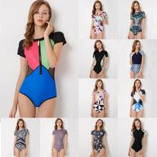 Diving One Piece Swimsuit Patchwork Short Sleeve Women Swimwear Bathing Suit Rash Guard Surfing Swimming Suit Rashguard(China)