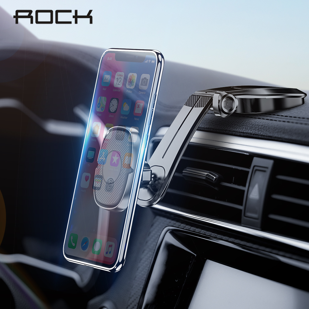 ROCK Car Phone Holder Magnetic Mobile Phone Car Holder Stand For Cell Phone Universal Car Mount Holder For Smartphone