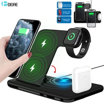 15W Qi Fast Wireless Charger Stand For iPhone 11 XR X 8 Apple Watch 4 in 1 Foldable Charging Dock Station for Airpods Pro iWatch 1